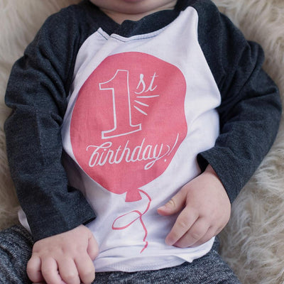First Birthday in Coral Raglan Tee - Sweetpea and Co.