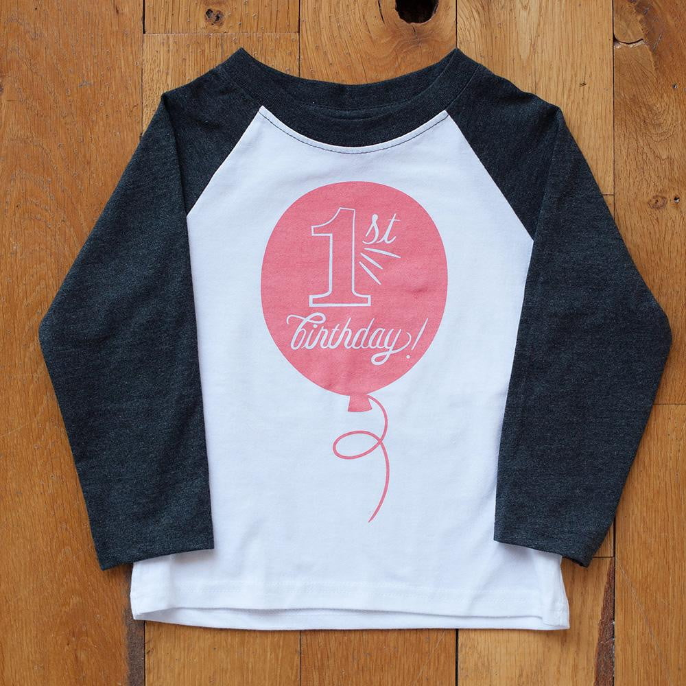 First Birthday in Coral Raglan Tee - Wholesale - Sweetpea and Co.