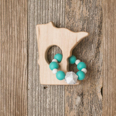 Minnesota Wood and Bead Baby Teether - Sweetpea and Co.