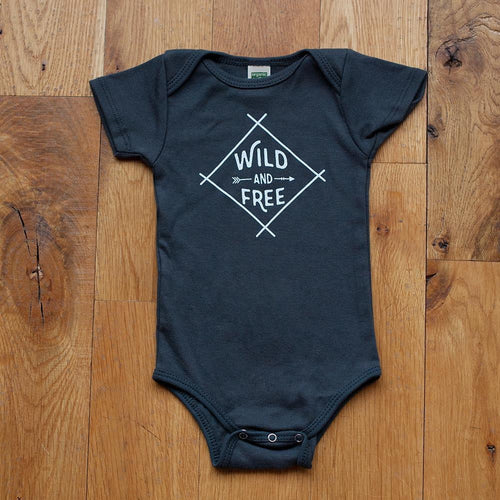 Sale - Wild and Free Bodysuit in Dark Gray - Sweetpea and Co.