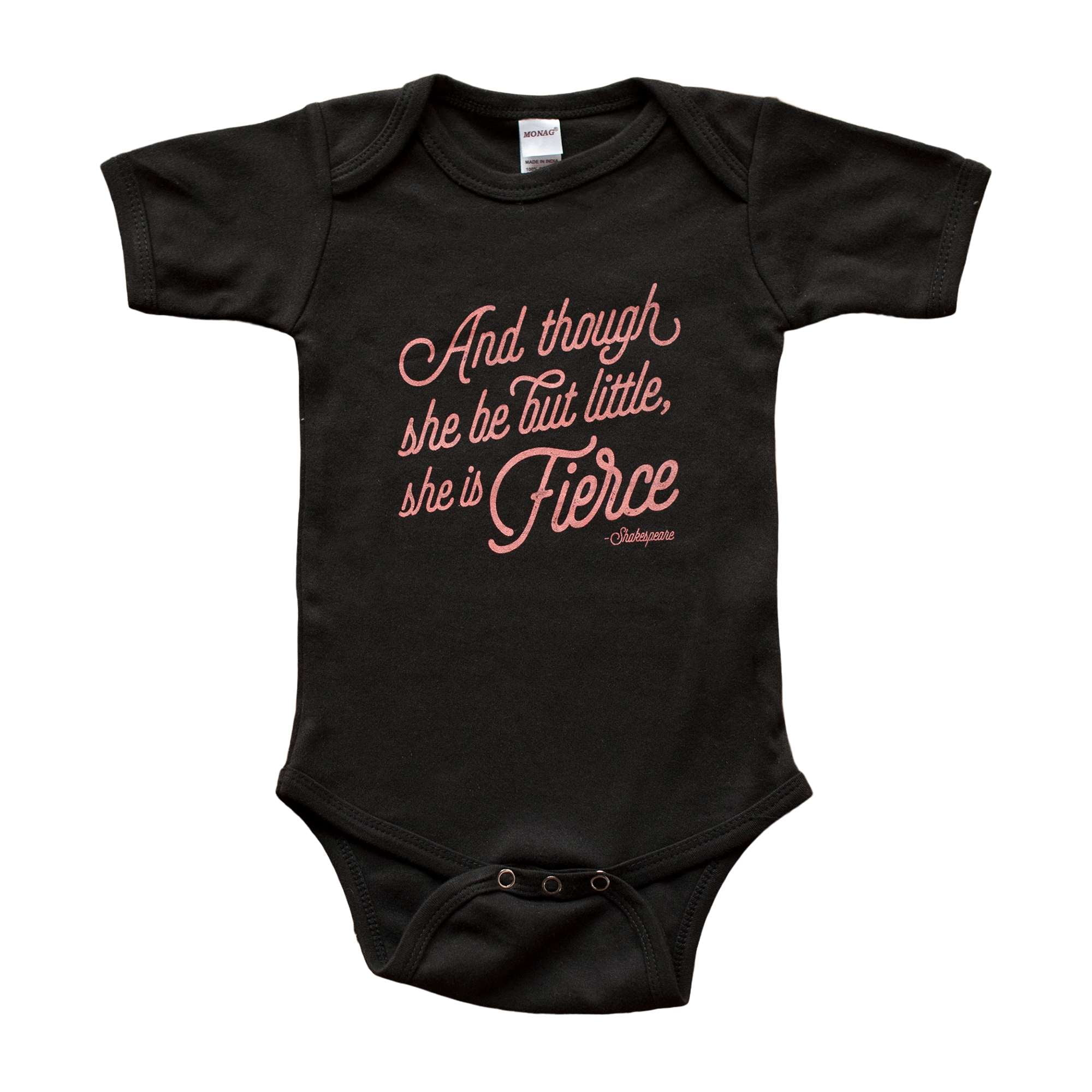 She is Fierce in Black Baby Bodysuit - Sweetpea and Co.