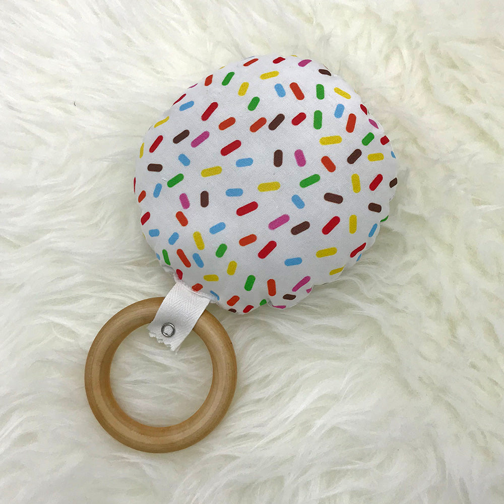 Plush and Wood Teether Toy - Doughnut - Sweetpea and Co.