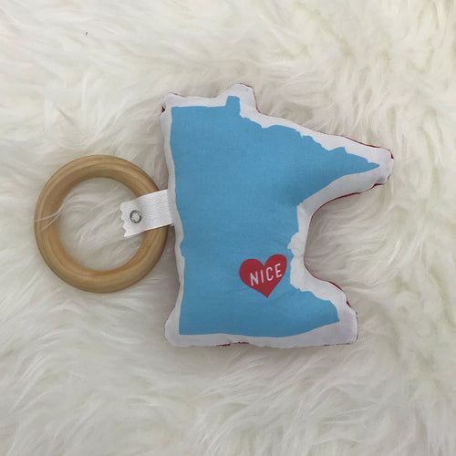 Plush and Wood Teether Toy - Minnesota Nice - Sweetpea and Co.