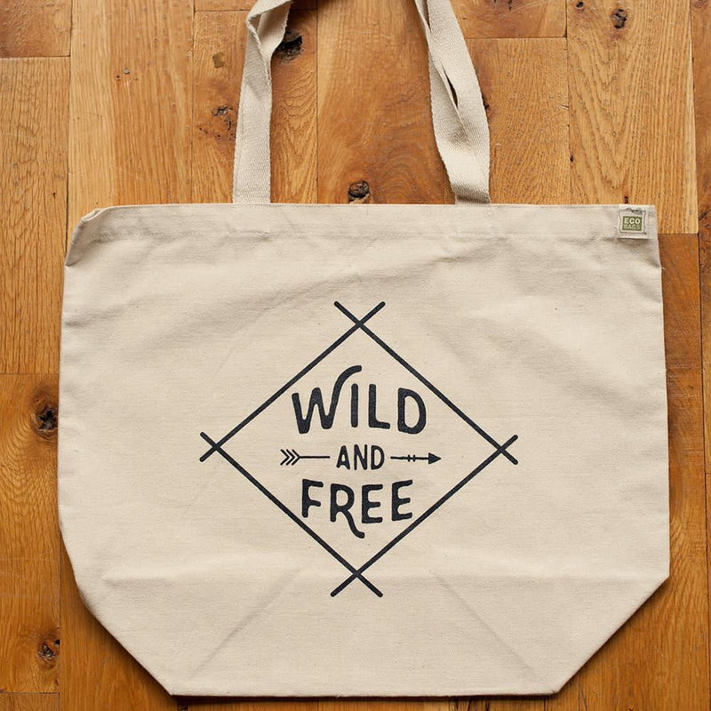 Sale - Wild and Free recycled cotton tote bag - Sweetpea and Co.