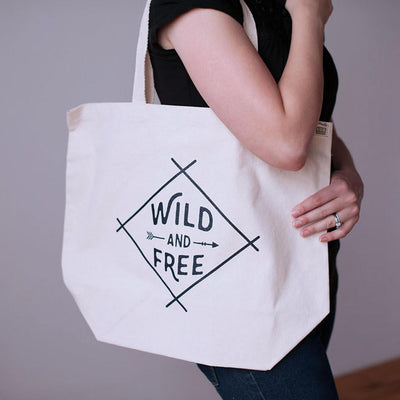 Wild and Free recycled cotton tote bag - Sweetpea and Co.