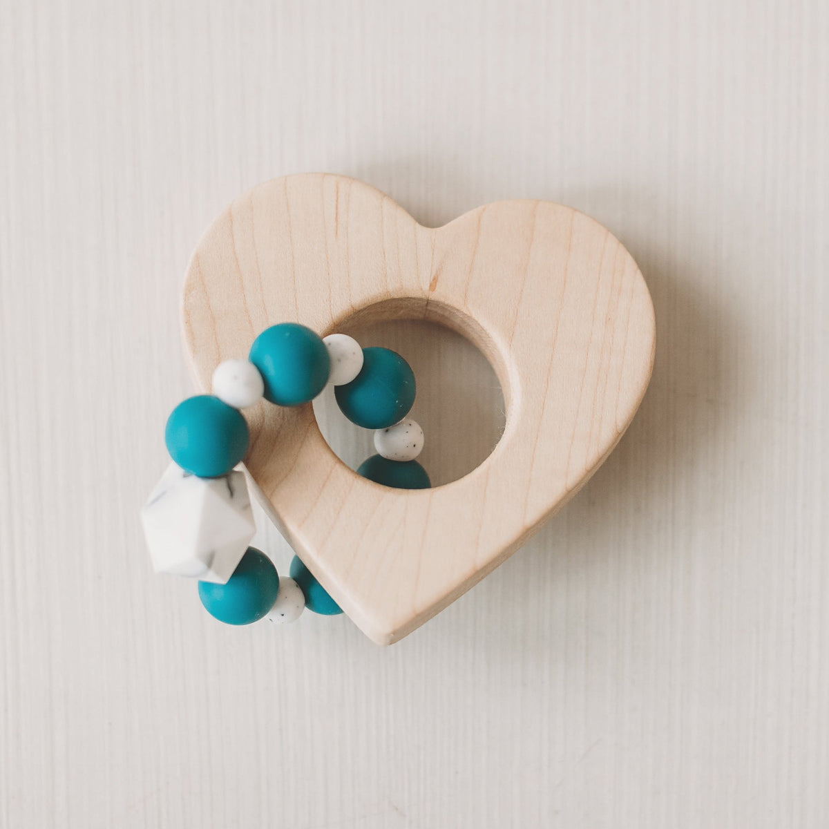 Heart Wood and Bead Baby Teether - Sweetpea and Co.