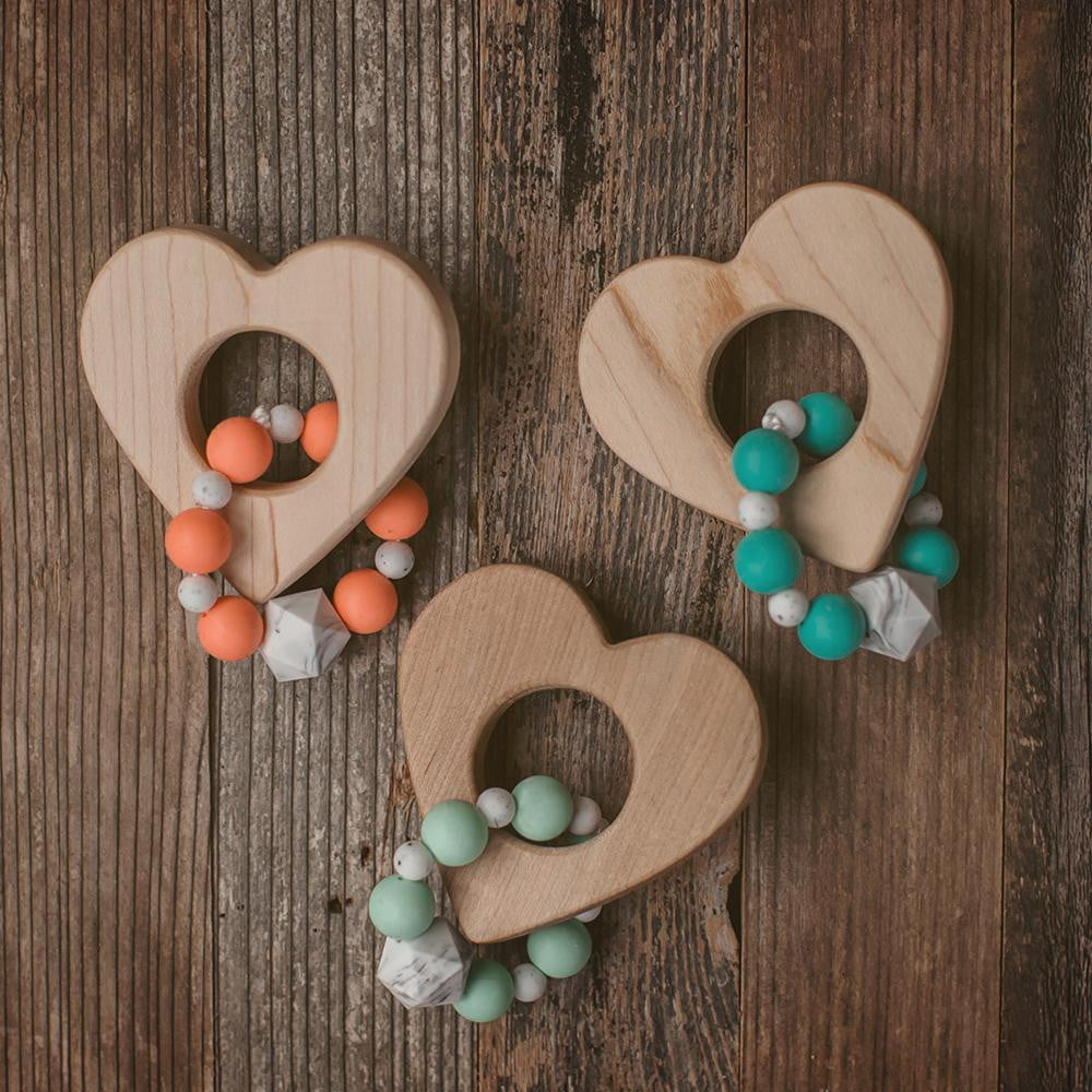 Heart Wood and Bead Teether - Wholesale - Sweetpea and Co.