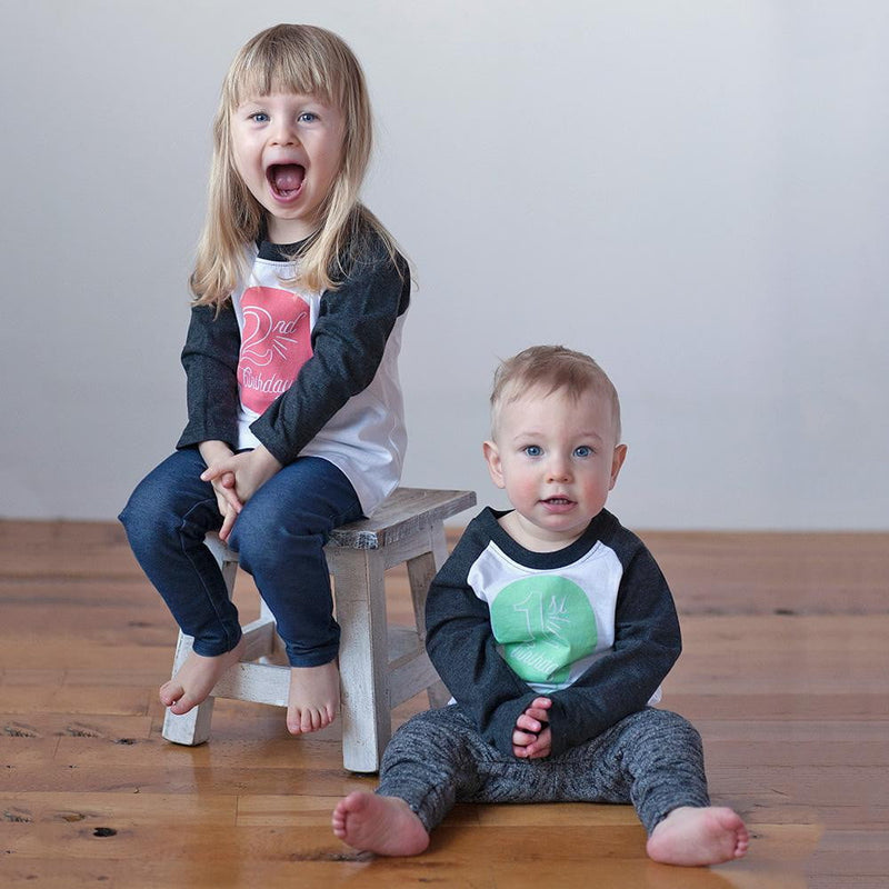 Second Birthday in Coral Raglan Tee - Sweetpea and Co.
