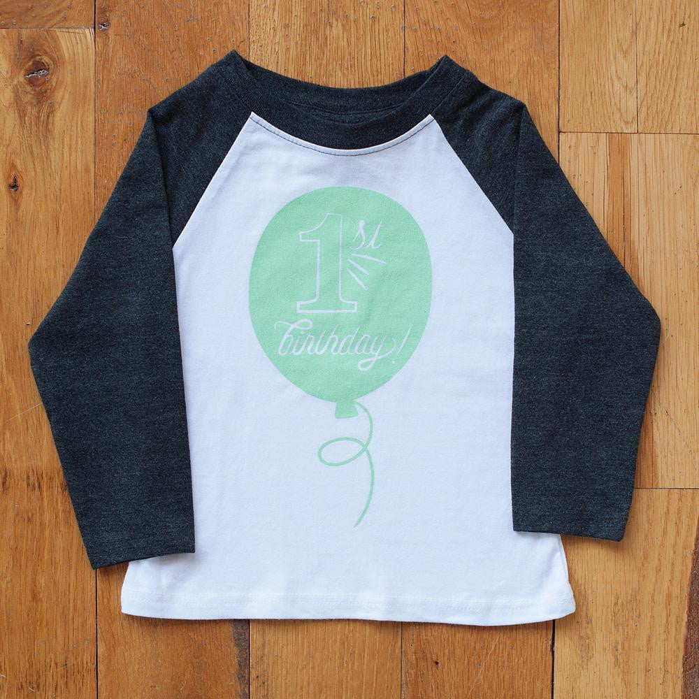 First Birthday in Mint Raglan Tee - Sweetpea and Co.
