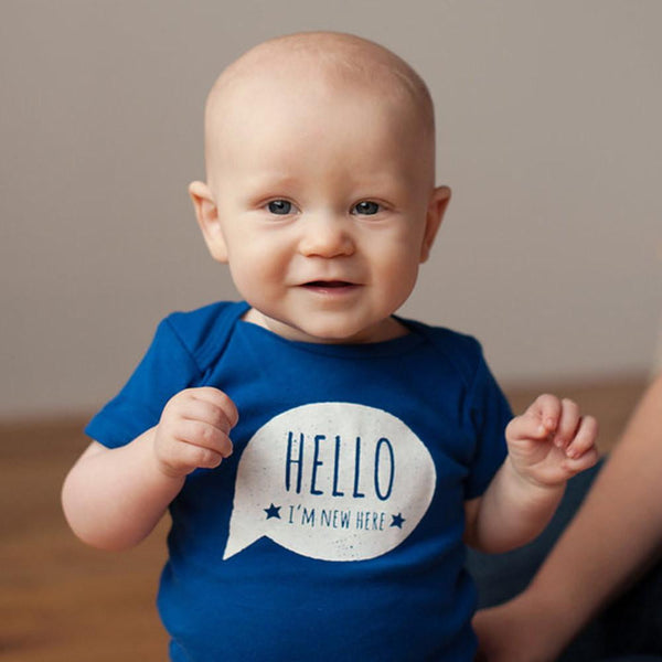 Hello, I'm New Here Organic Bodysuit - Sweetpea and Co. - 2