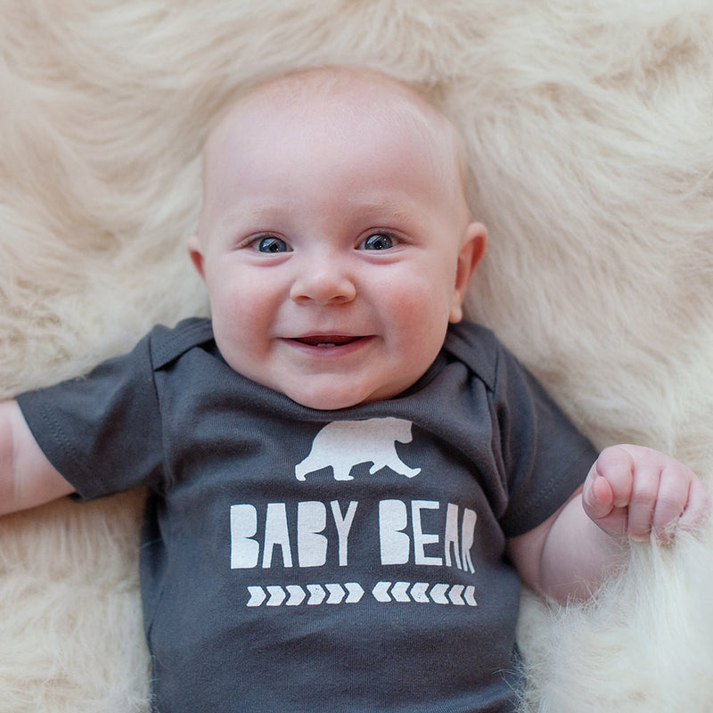 Organic Baby Bear in Dark Gray Bodysuit - Sweetpea and Co.