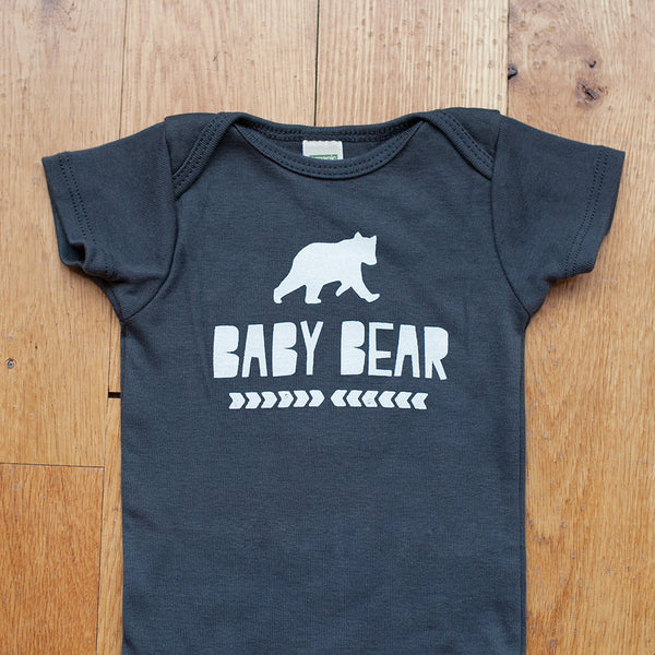 Organic Baby Bear in Gray Bodysuit - Sweetpea and Co. - 3
