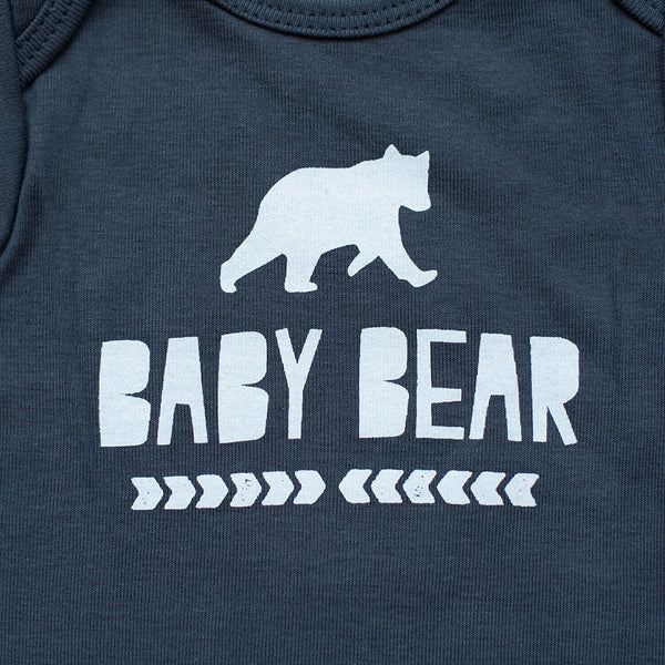 Organic Baby Bear in Gray Bodysuit - Sweetpea and Co. - 5