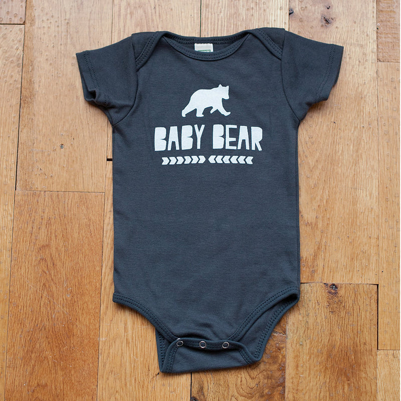 Sale - Organic Baby Bear in Dark Gray Bodysuit - Sweetpea and Co.