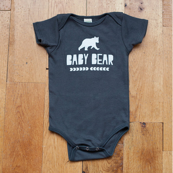 Organic Baby Bear in Gray Bodysuit - Sweetpea and Co. - 4