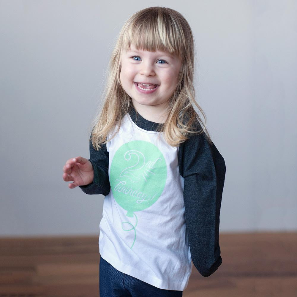 Second Birthday in Mint Raglan Tee - Wholesale - Sweetpea and Co.
