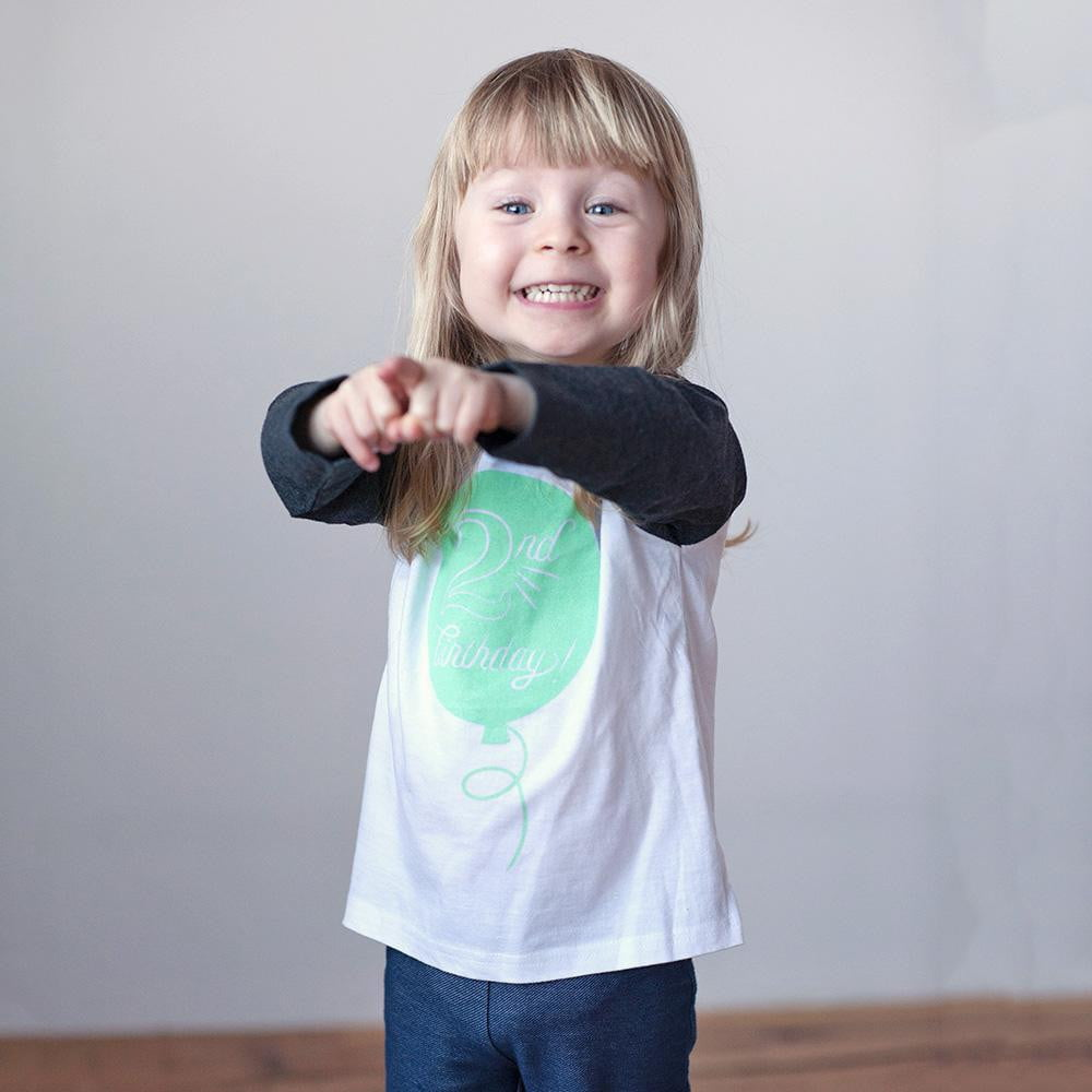 Second Birthday in Mint Raglan Tee - Sweetpea and Co.