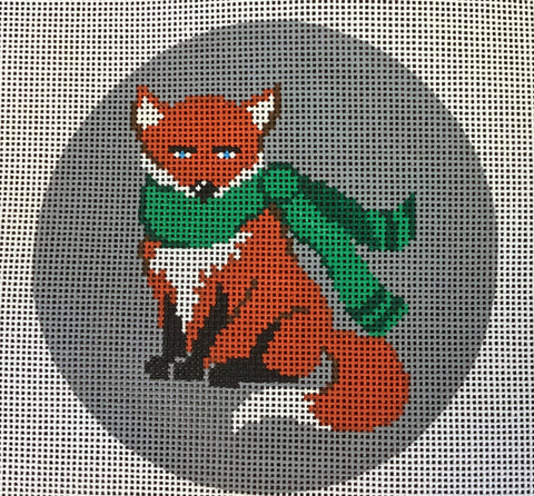Round Sitting Fox w/Green Scarf