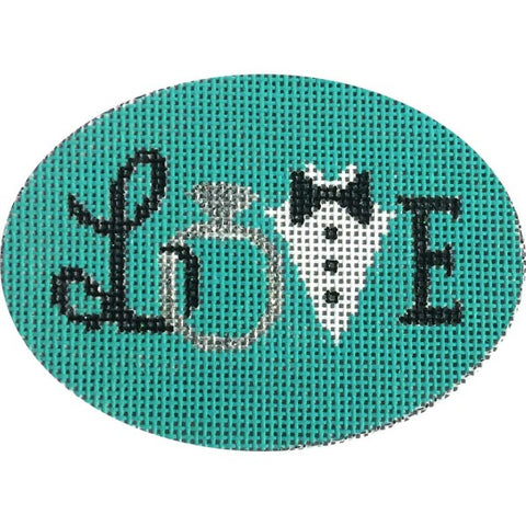 """Love"" Wedding Teal Oval"