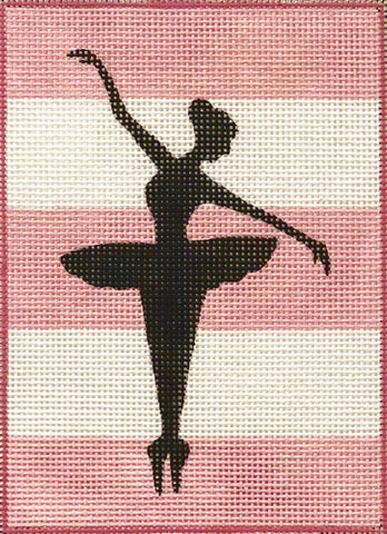 Ballerina Silouette on Stripes
