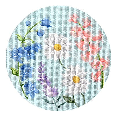 English Garden Round Blue and Purple