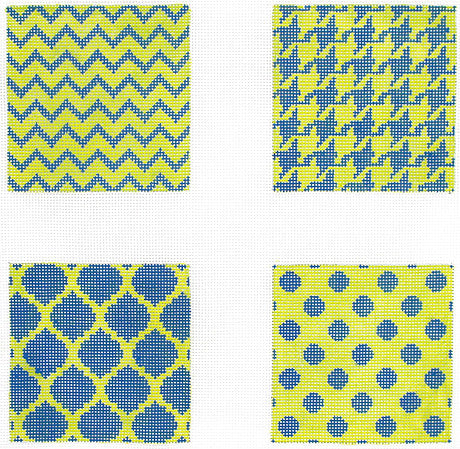 Navy and Lime Mixed Geometric Coaster Insets