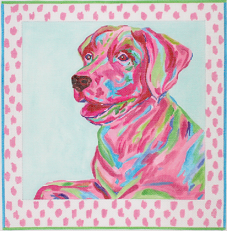 Lab with Pink Spot Border