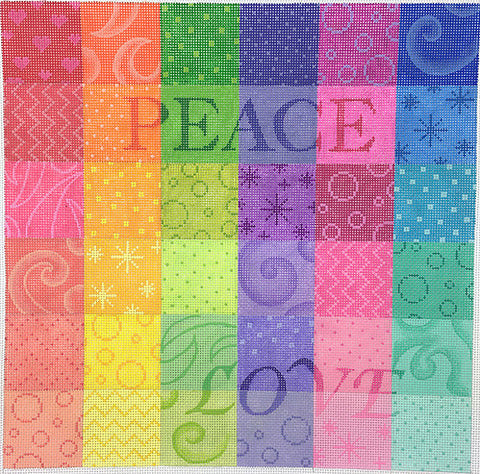 Peace and Love Rainbow Pillow