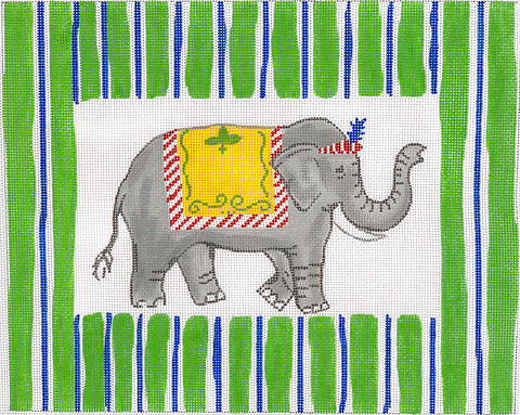 Elephant with Blue and Green Stripe