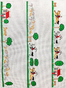 English Hunt Scene Luggage Straps