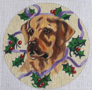 Yellow Lab w/Holly Ornament