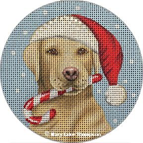 Santa Yellow Lab Ornament