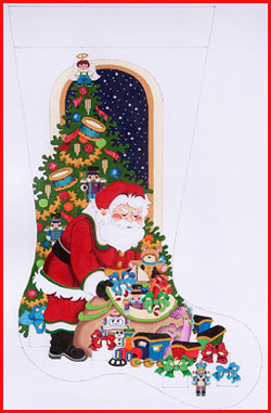 Santa w/Toy Bag/Tree /Boy Stocking
