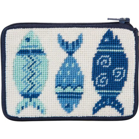Blue Fishes Stitch and Zip Coin Purse