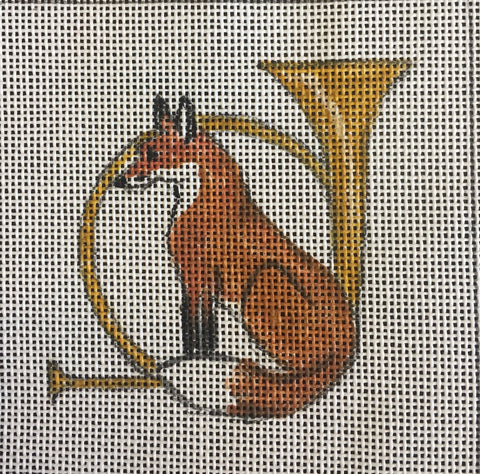 "Fox in front of Horn 4"" Square"