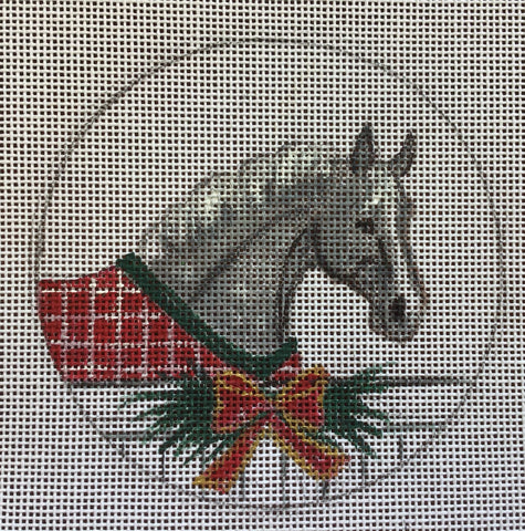 Gray Horse with Blanket & Wreath Ornament