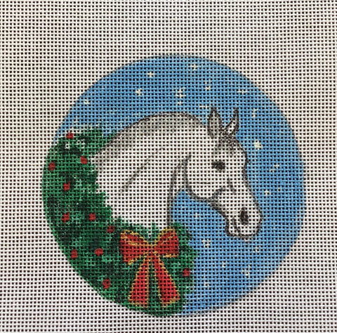 Gray Horse with Wreath Ornament