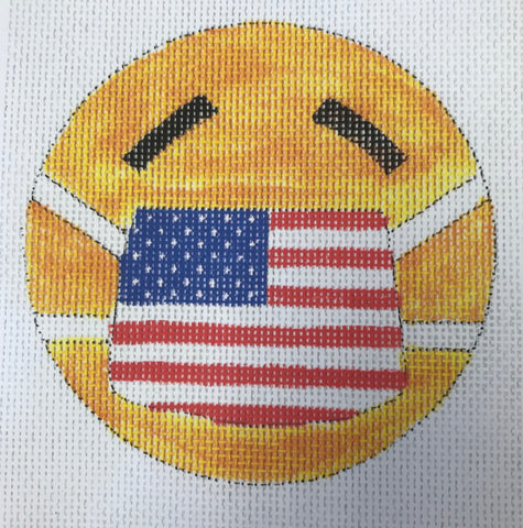 Smiley face with American Flag Mask Ornament