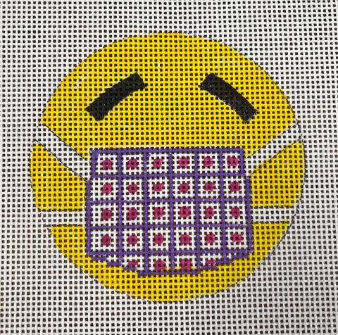 Smiley face with Patterned Face Mask Ornament