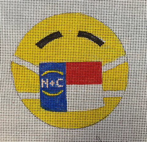 Smiley Face with NC Flag mask Ornament