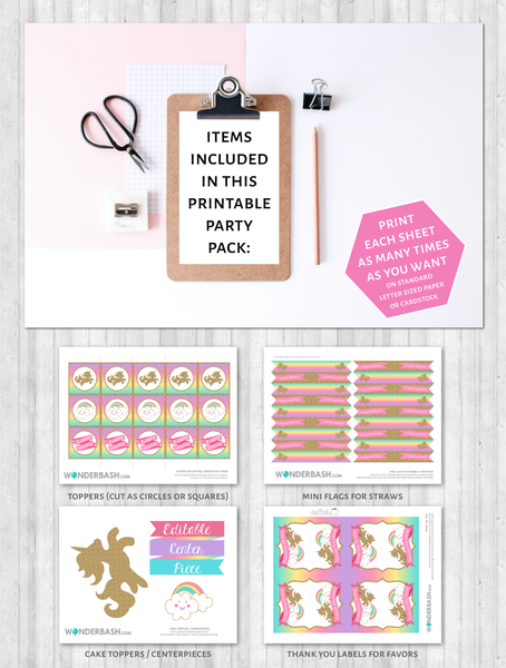 unicorn party ideas rainbow gold glitter printable pack
