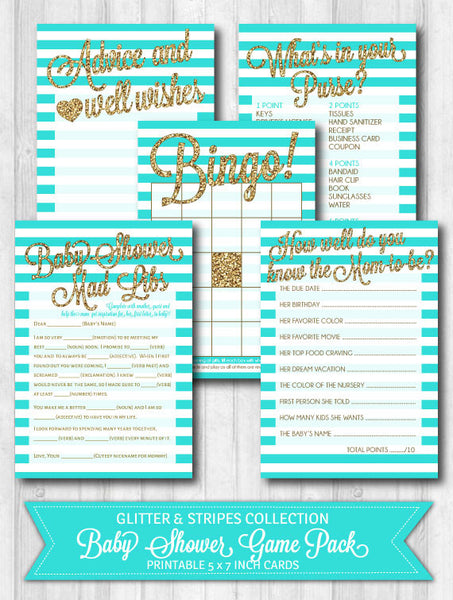 Baby Shower Games: Gold Glitter & Aqua Stripes