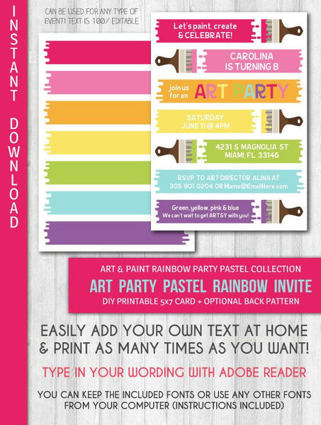 Paint / Art Party Invitation: Pastel paint party