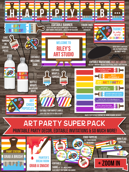 Paint / Art Party Decor - Artist Paint Party Pack