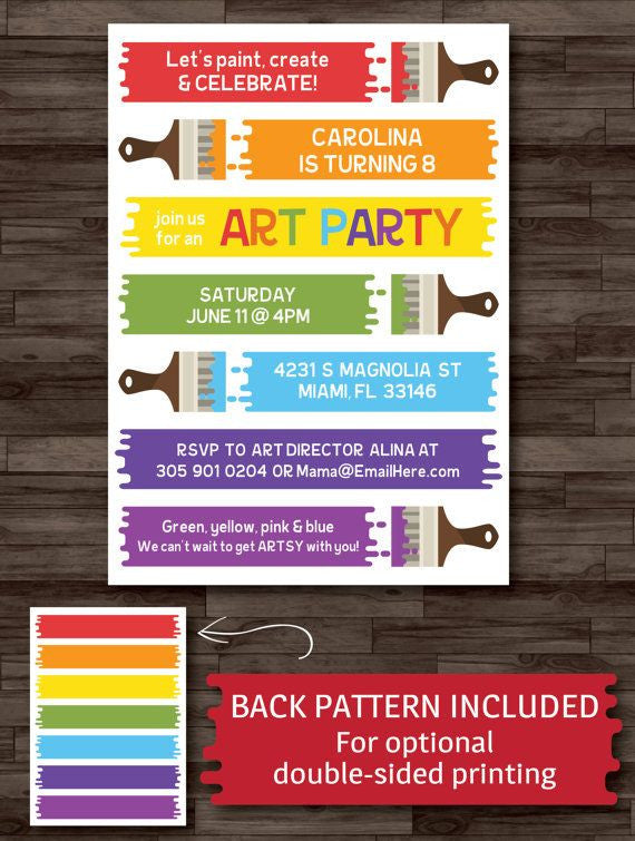 Art Party Invitation, Paint Birthday Artist Party Rainbow