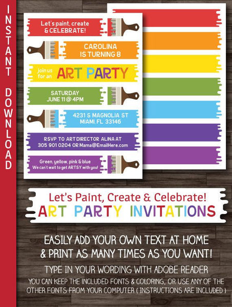 Paint / Art Party Invitation, Paint Birthday Artist Party