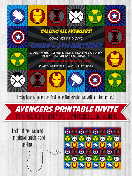 Avengers Invitation: Printable