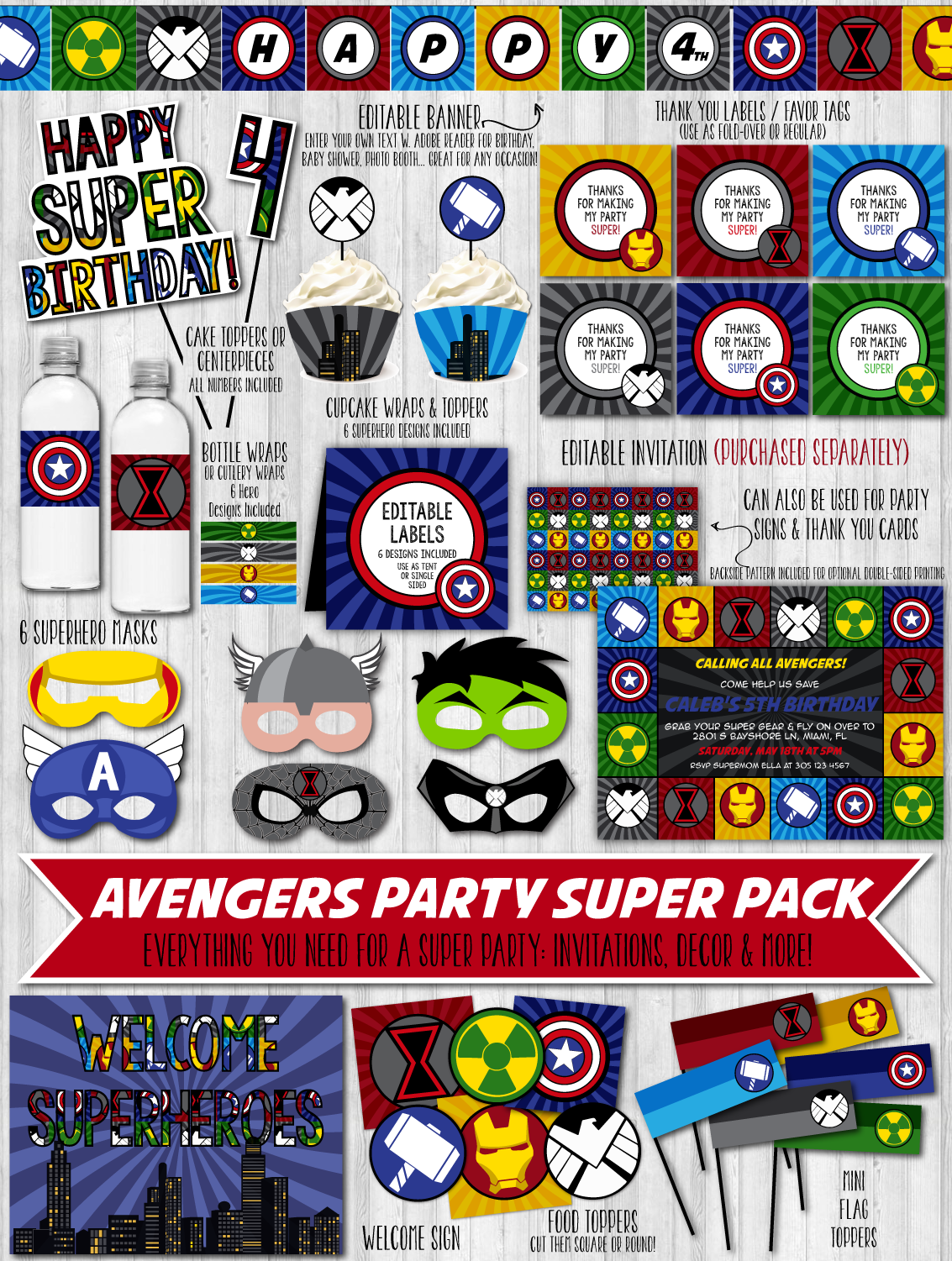 Avengers Party Printable Decor Pack – WonderBash