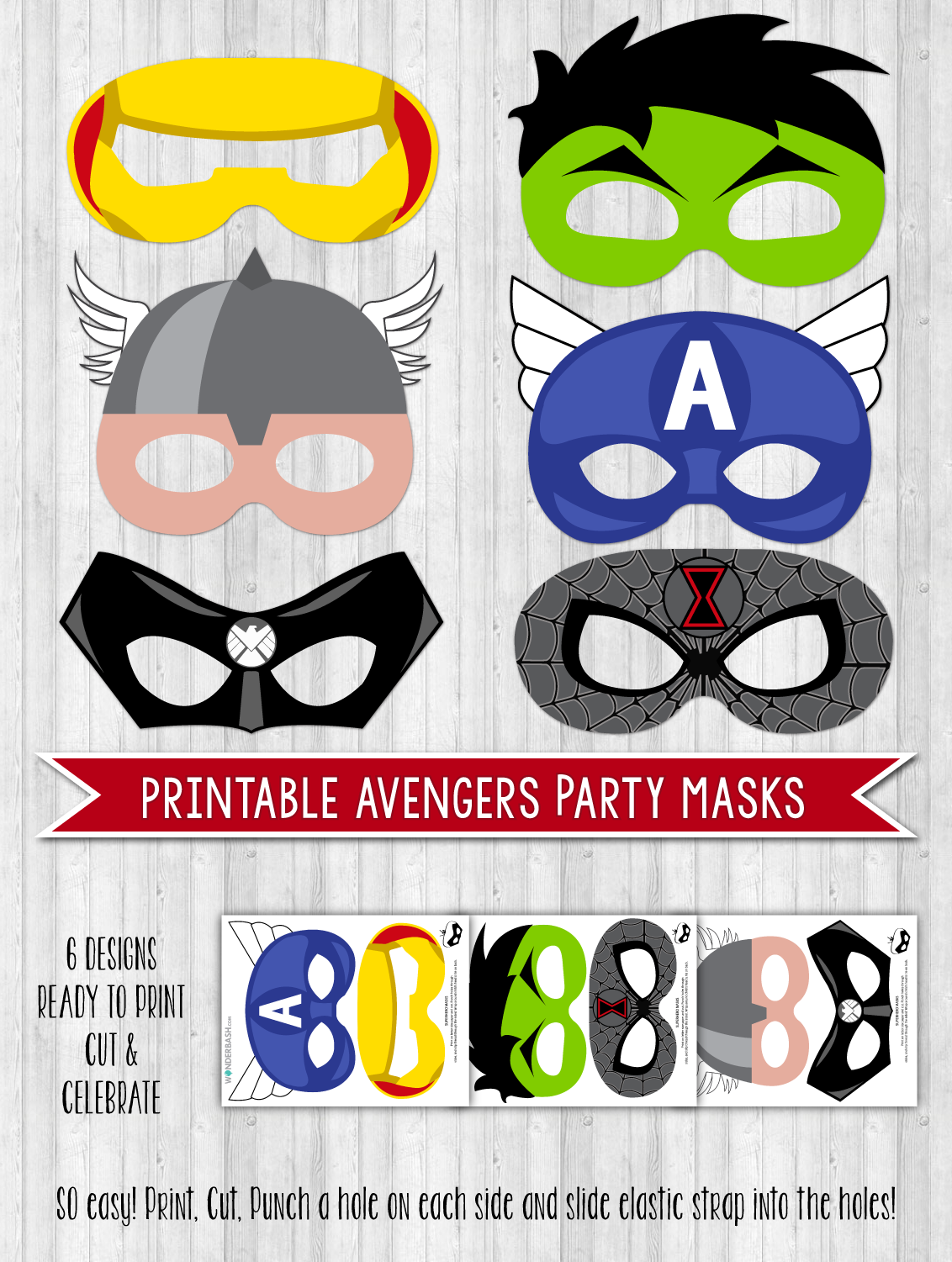 avengers party printable masks photo props