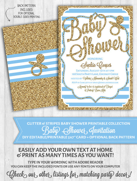 Baby Shower Invitations: Baby Blue Stripes & Gold Glitter